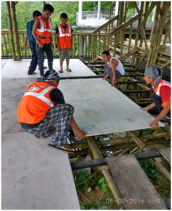Training of local workers on pre-fabricated bamboo structure