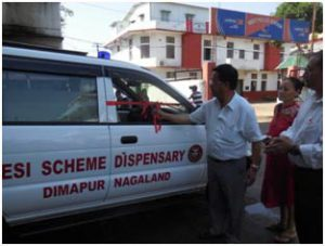 Labour Commissioner launching the Ambulance service of ESIC Dispensary Dimapur on 1st April, 2016